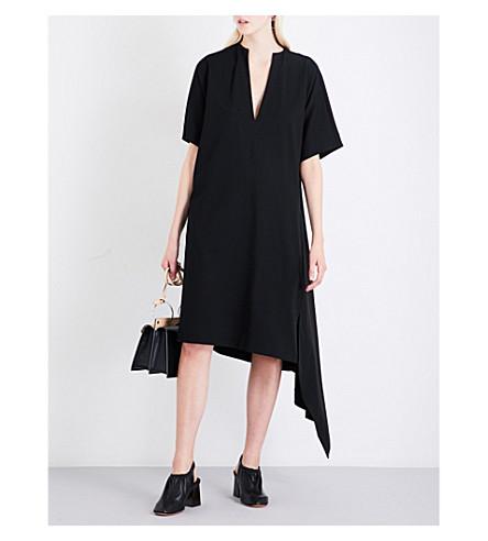 JIL SANDER Asymmetric stretch-jersey dress (Black