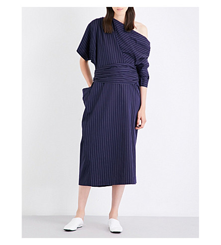 JIL SANDER Dilly striped cotton dress (Dark+blue