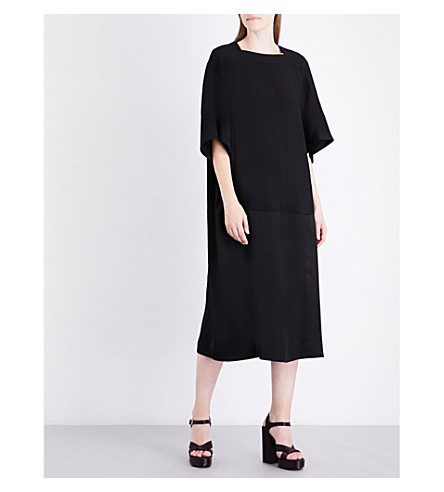 JIL SANDER Diadema crepe midi dress (Black