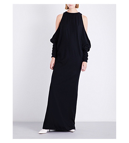 JIL SANDER Dipinto cold-shoulder wool and cashmere-blend dress (Dark+blue