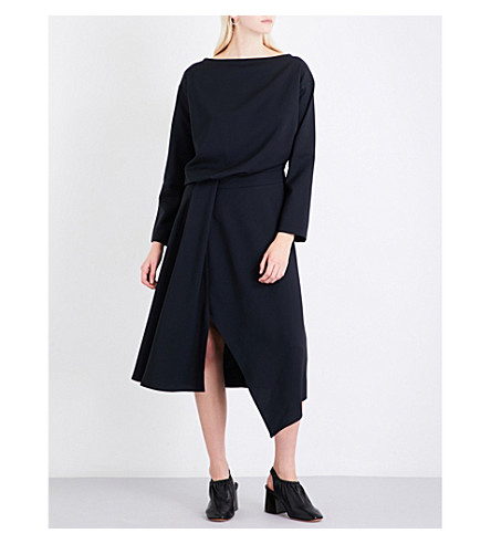 JIL SANDER Draped asymmetric twill midi dress (Dark+blue