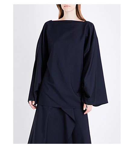 JIL SANDER Gathered-sleeve wool and mohair-blend top (Navy