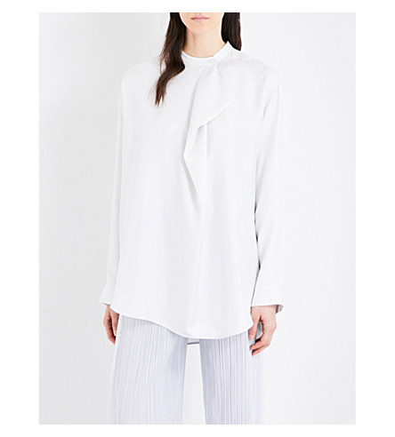 JIL SANDER Folded-detail silk-twill shirt (Natura