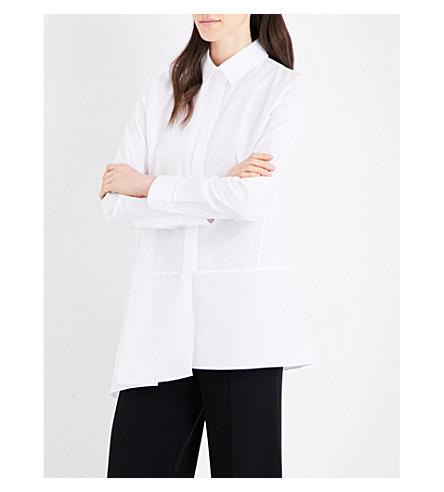 JIL SANDER Pleated-panel cotton-poplin shirt (White