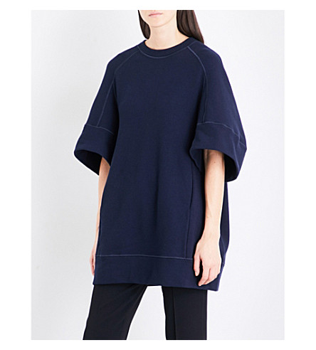 JIL SANDER Raglan-sleeve oversized jersey tunic (Dark+blue