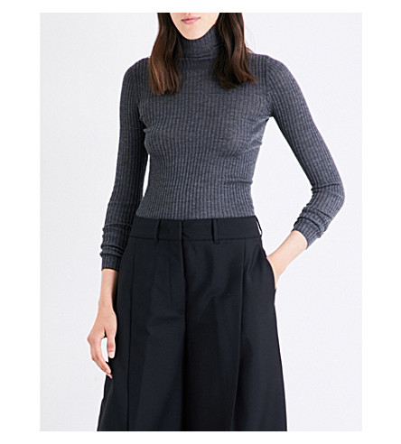 JIL SANDER Ribbed cashmere and silk-blend jumper (Dark grey