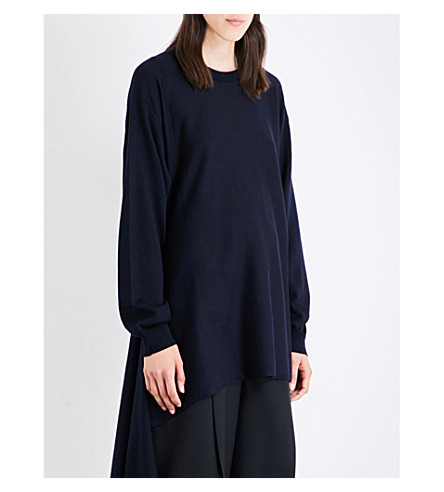 JIL SANDER Wrap-hem wool sweater (Dark+blue