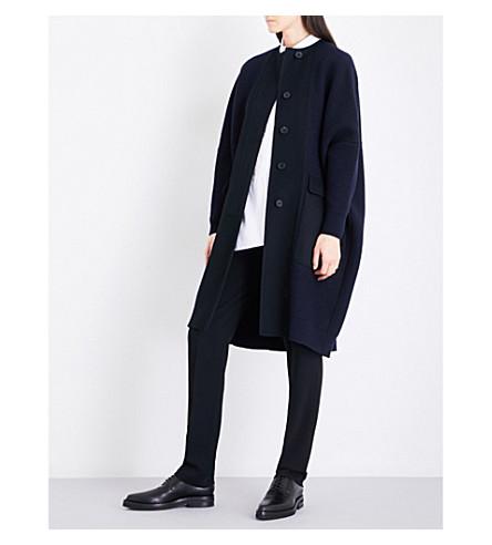 JIL SANDER Oversized wool and cashmere-blend bouclé coat (Dark+blue