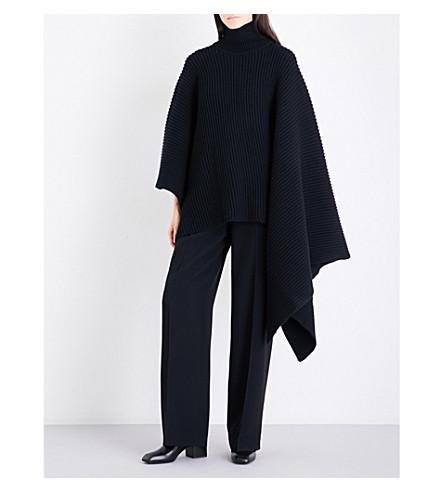 JIL SANDER Turtleneck ribbed wool and cashmere-blend cape (Black