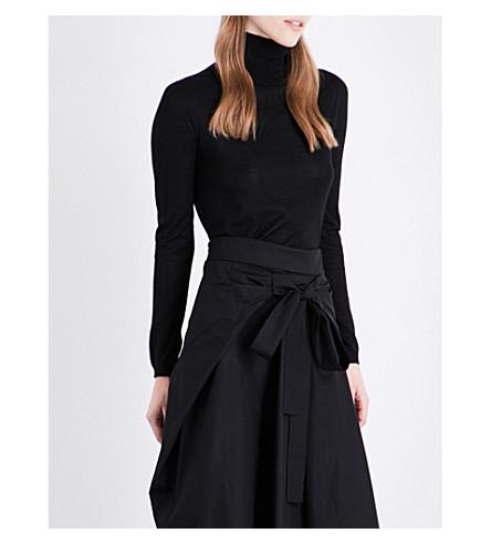 JIL SANDER Turtleneck cashmere and silk-blend jumper (Black
