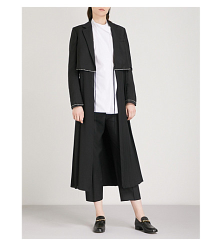 JIL SANDER Eurasia wool and mohair-blend and crepe de chine coat (Black