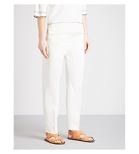 JIL SANDER Enea tailored-fit high-rise cotton-blend trousers (Cream