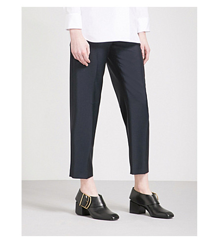 JIL SANDER Enea tapered wool and mohair-blend trousers (Dark+blue