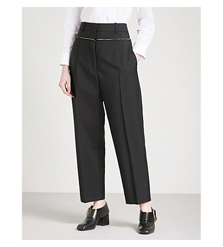 JIL SANDER Ezra straight wool and mohair-blend trousers (Black