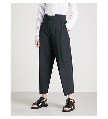 JIL SANDER Emmet tapered wool trousers (Dark+blue