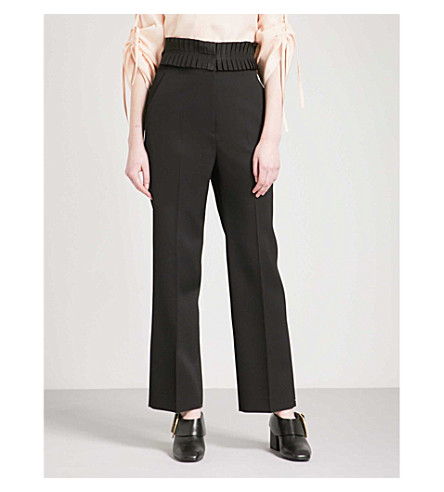 JIL SANDER Edward pleated waistband straight wool trousers (Black