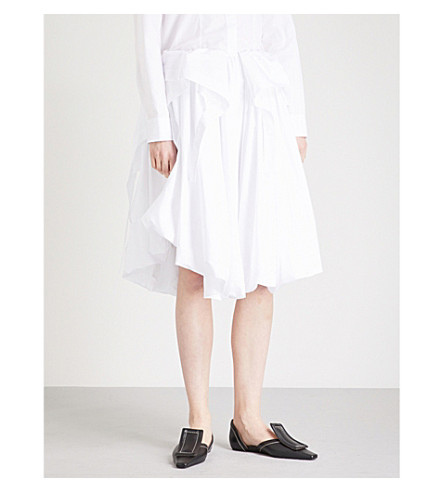 JIL SANDER Elisir ruched cotton skirt (White