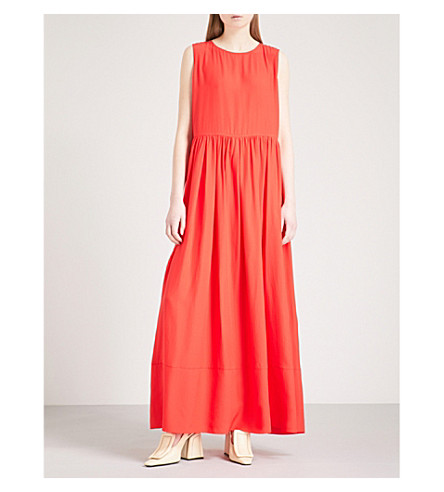 JIL SANDER Emphaty fit-and-flare silk-crepe dress (Bright+red