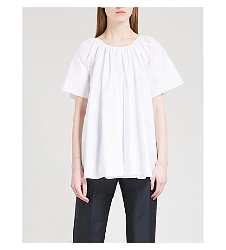 JIL SANDER Elle pleated cotton-poplin top (White