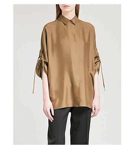 JIL SANDER Ruched-sleeve silk shirt (Beige