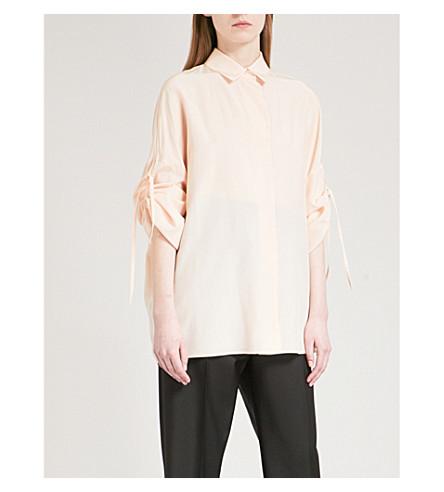 JIL SANDER Ruched-sleeve silk shirt (Light+pink