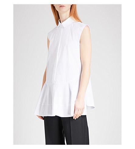 JIL SANDER Erin sleeveless flared stretch-cotton shirt (White