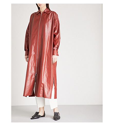 JIL SANDER Zip-detail leather coat (Medium+brown