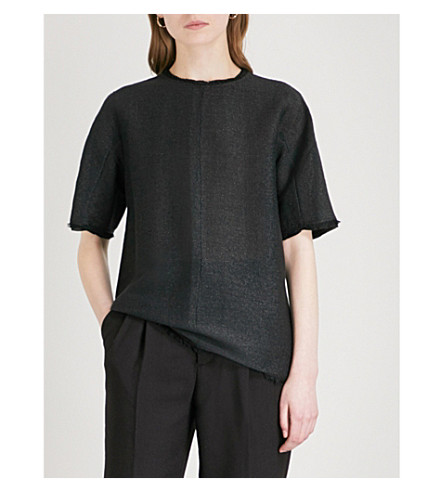 JIL SANDER Eyelash-trim oversized woven T-shirt (Black