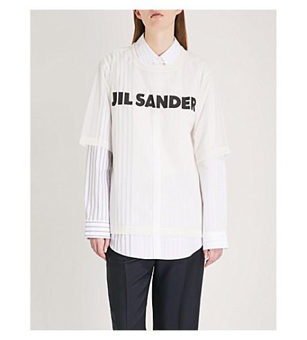 JIL SANDER Logo-print woven T-shirt (Cream