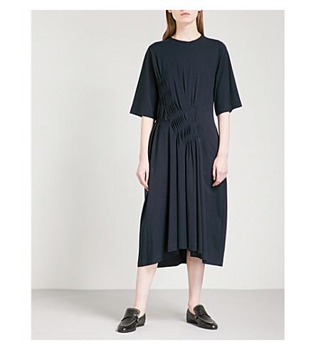JIL SANDER Pleated cotton dress (Dark+blue