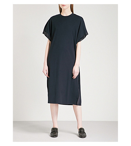 JIL SANDER Longline cotton-jersey dress (Dark+blue