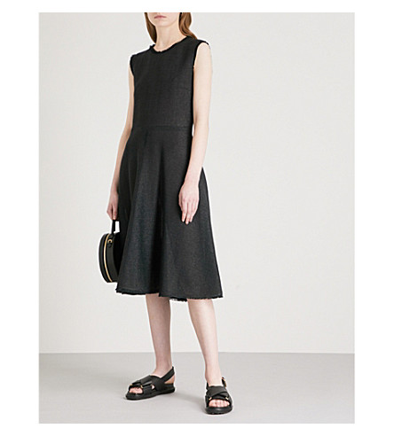 JIL SANDER Eyelash-trim sleeveless woven dress (Black