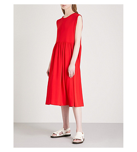 JIL SANDER Sleeveless fit-and-flare jersey midi dress (Bright+red