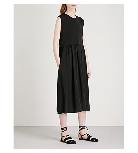 JIL SANDER Sleeveless fit-and-flare jersey midi dress (Black