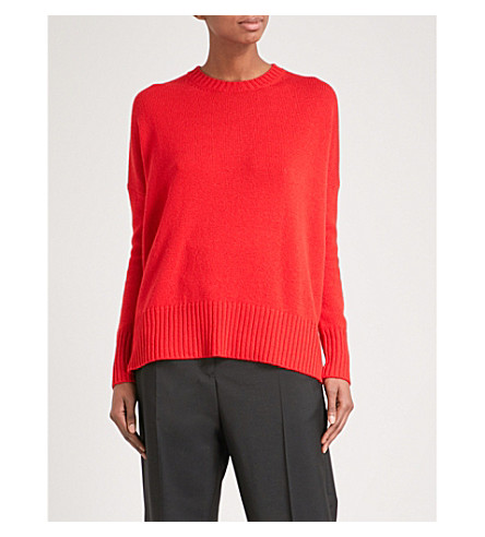 JIL SANDER Oversized fine-knit cashmere jumper (Bright+red