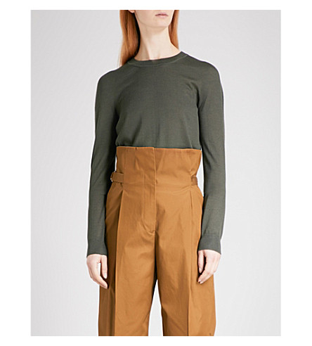 JIL SANDER Fine-knit cashmere-blend jumper (Dark+green