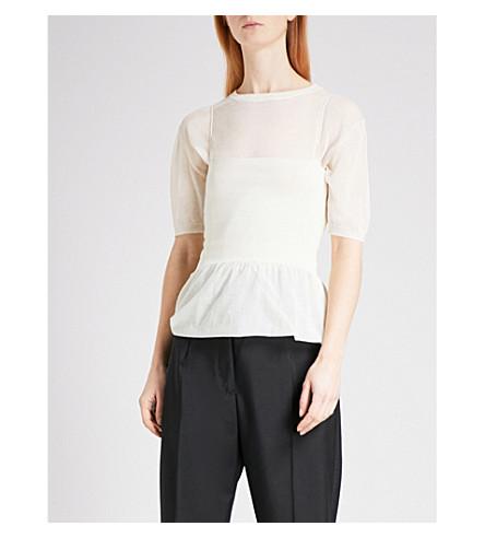 JIL SANDER Fine-knit cotton-blend T-shirt dress (Cream