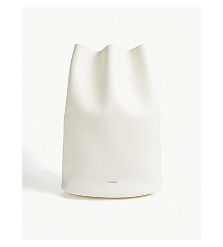 JIL SANDER Blossom leather backpack (Open+white