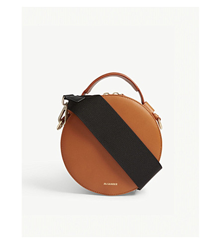 JIL SANDER Circle leather cross-body bag (Open+brown