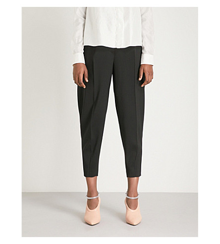 JIL SANDER Earl relaxed-fit mid-rise crepe trousers (Black