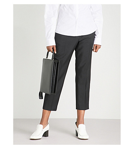 JIL SANDER Donald tailored-fit mid-rise wool and mohair-blend trousers (Black