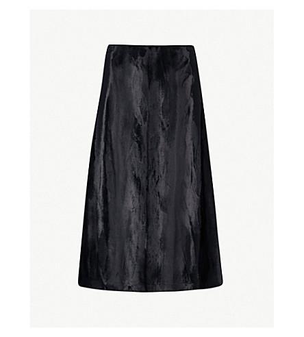 JIL SANDER Fiandra velvet skirt (Dark+blue