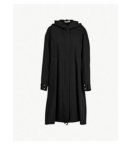 JIL SANDER Hooded fleece-wool parka coat (Dark+blue