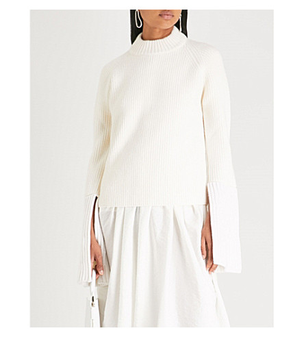 JIL SANDER Split-sleeve wool and cashmere-blend jumper (Natural