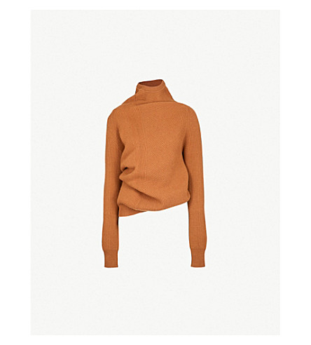 JIL SANDER Asymmetric wool and cashmere-blend turtleneck jumper (Medium+beige
