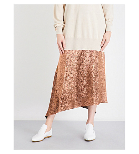 JIL SANDER Asymmetric metallic silk-blend midi skirt (Medium+brown