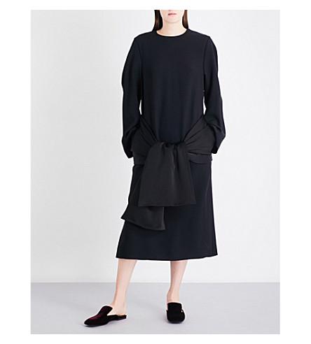 JIL SANDER Oversized crepe midi dress (Black