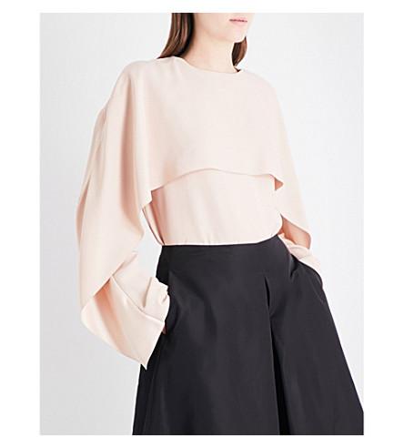 JIL SANDER Dazio draped overlay crepe blouse (Light/pastel+pink