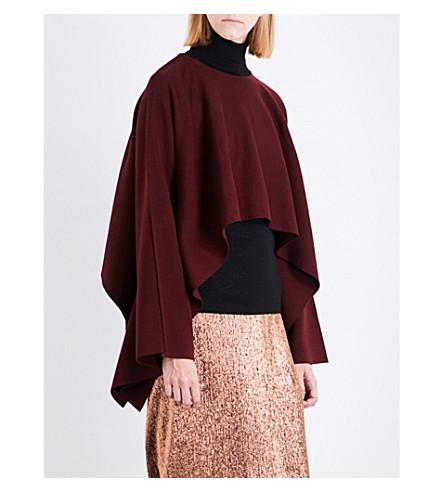 JIL SANDER Asymmetric stretch-wool cape (D+red