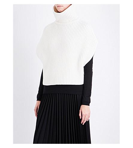 JIL SANDER Turtleneck sleeveless wool-blend jumper (Natural